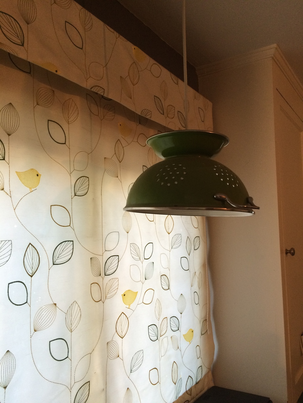 Kitchen Colander as a Light Fixture