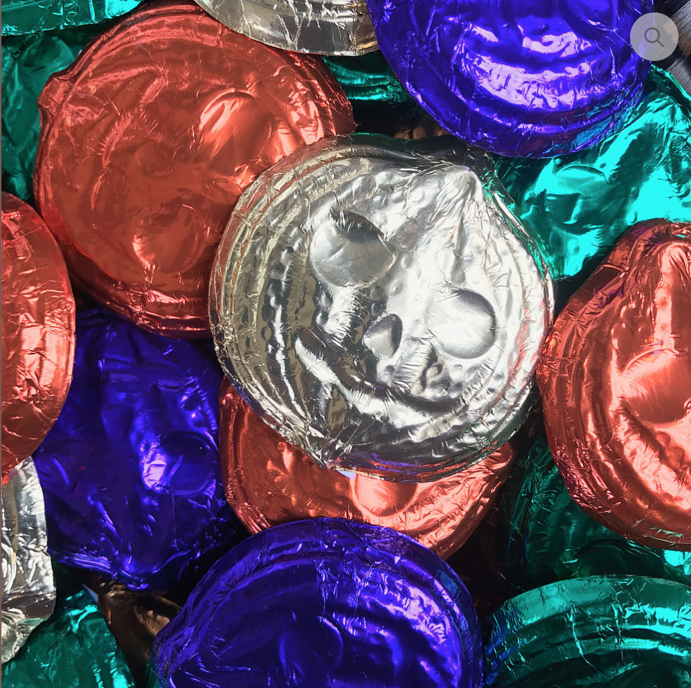 Foil Wrapped Jack-o-lanterns, $2 each from Mama Ganache.