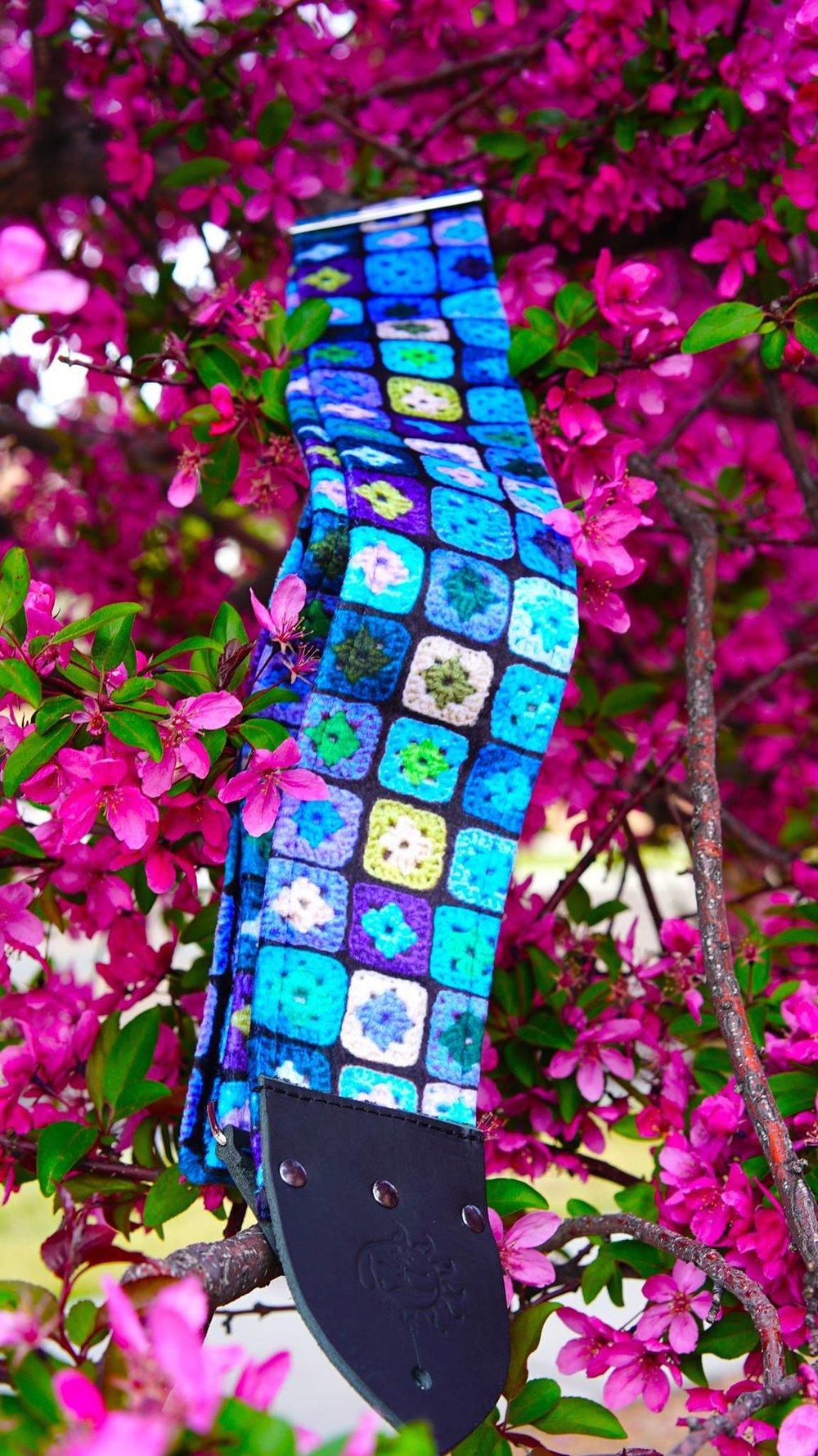 dog days guitar straps granny square guitar strap flowers