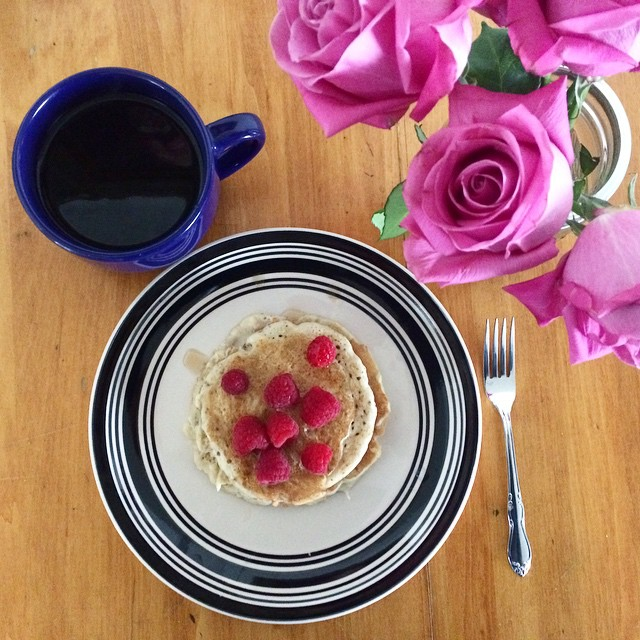 Who says #sick days have to be sad?  Jump starting the day with #breakfast featuring our favorite #TraditionalMedicinals Throat Coat tea and #clean Banana Walnut pancakes (good for the #soul!)