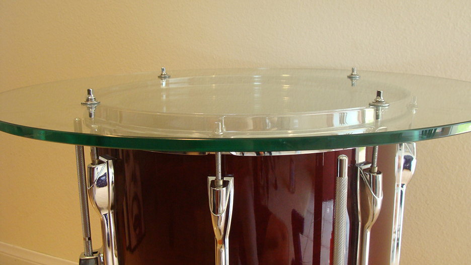 """Converting a drum tom into a coffee table. A """"must have"""" for music lovers. Easily converted into a wet bar at happy hour!"""