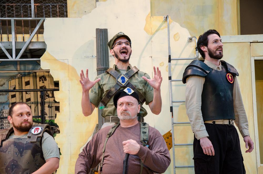 Menelaus (Diego Sandino), Ulysses (Thomas Weaver), Nestor (Jeff Wasileski), Diomedes (Ross Carmichael)