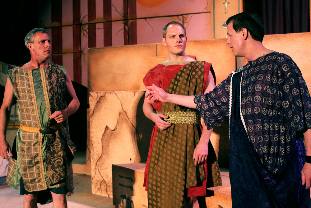 Antony (Philip Wheeler), Lepidus (Jeremy Burkett), Octavius (Jeff Luttermoser)