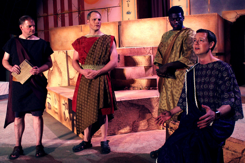 Agrippa (David Richwine), Lepidus (Jeremy Burkett), Mecaenas (Bernard Joseph), Octavius (Jeff Luttermoser)