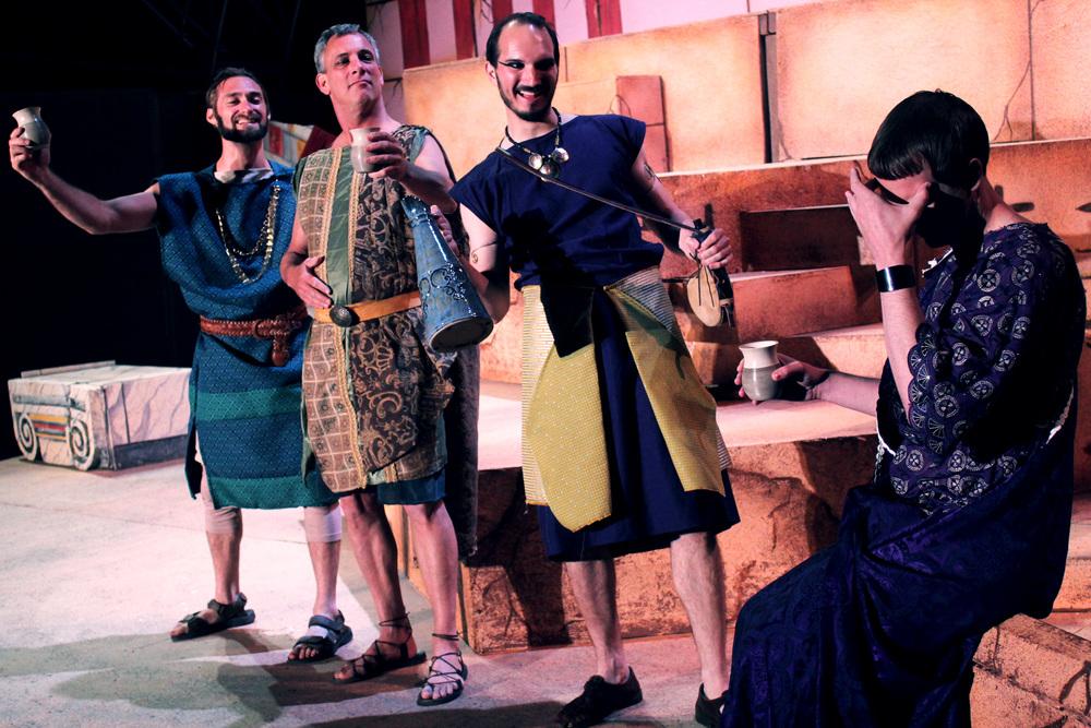 Pompy (Ian Potter), Antony (Philip Wheeler), Enobarbus (Thomas Weaver), Octavius (Jeff Luttermoser)