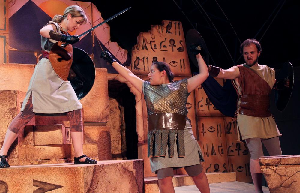Gallus (Kathryn Miller), Diomedes (Grace Hoover), Taurus (Collins Wilson)