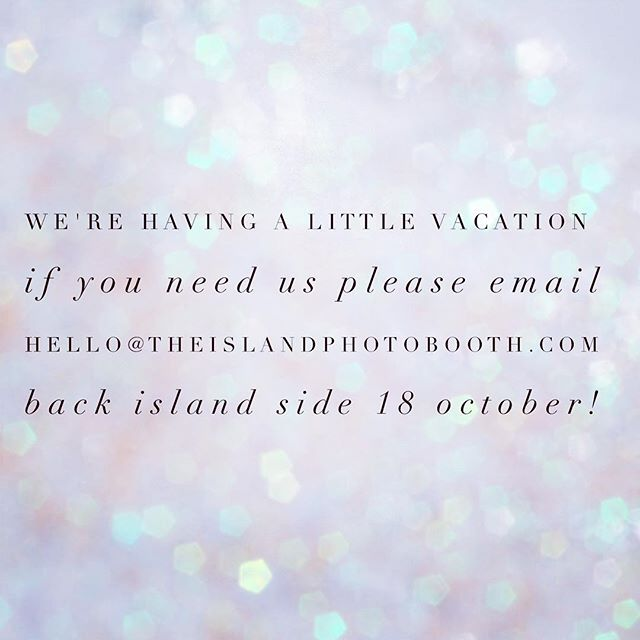 Vacation Time! Back in the 268 on 18 October. If you want to book your booth please do email us! ✈️💃🏻