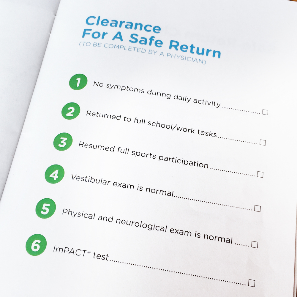 The Clearance for Safe Return checklist (to be completed by a Physician)