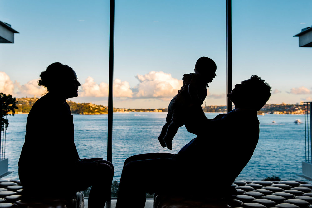Silhouette of parents and baby - Christening reception, Sergeants Mess
