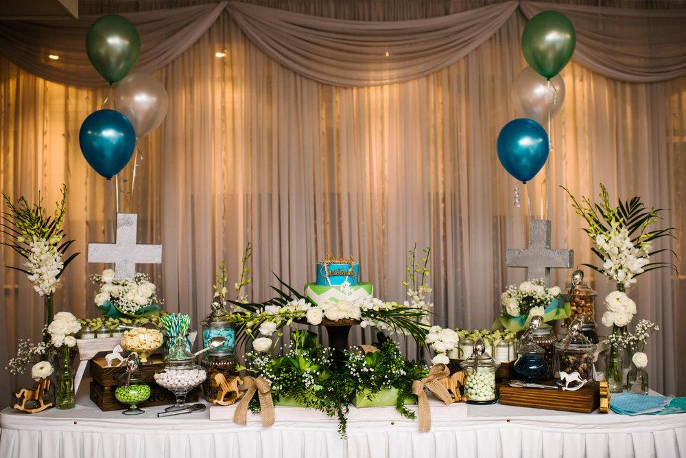 Blue green gold christening reception decor