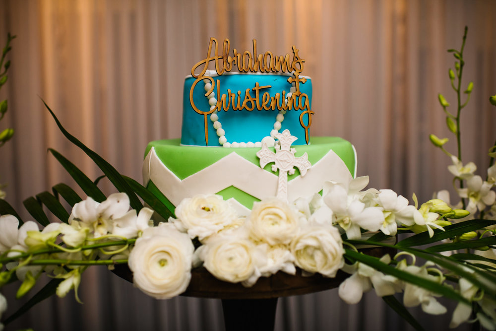 Blue green gold christening cake