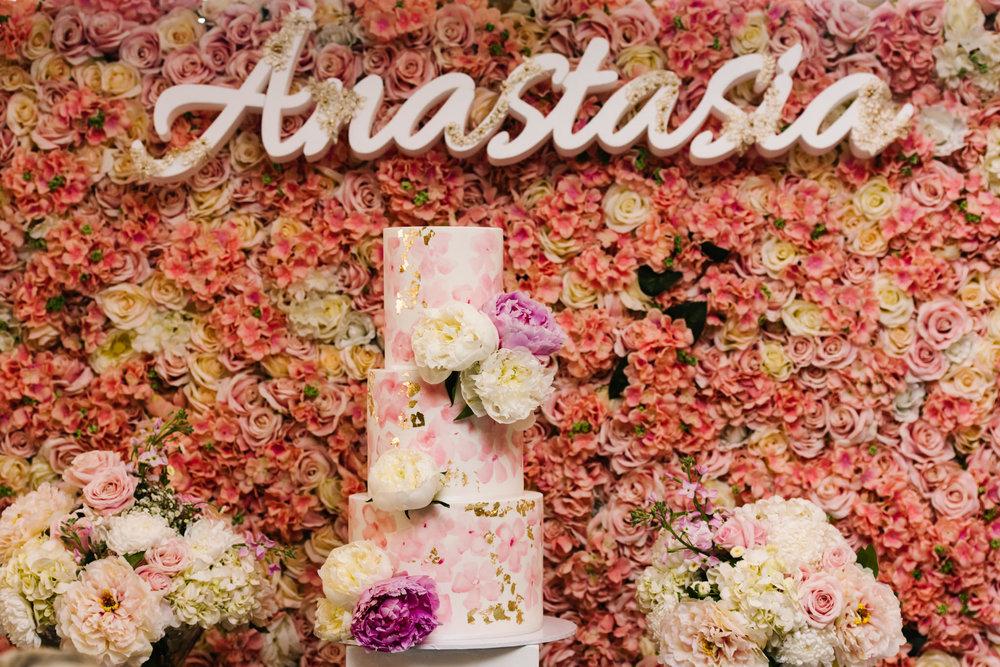 Pink Floral Christening cake