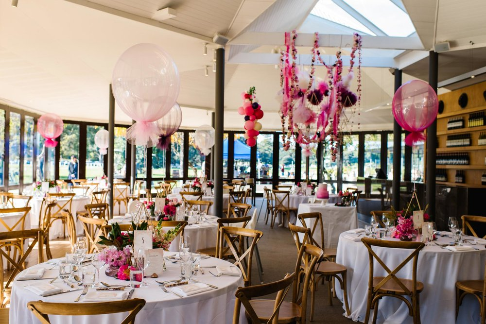 Overview of christening decorations at Centennial Homestead venue