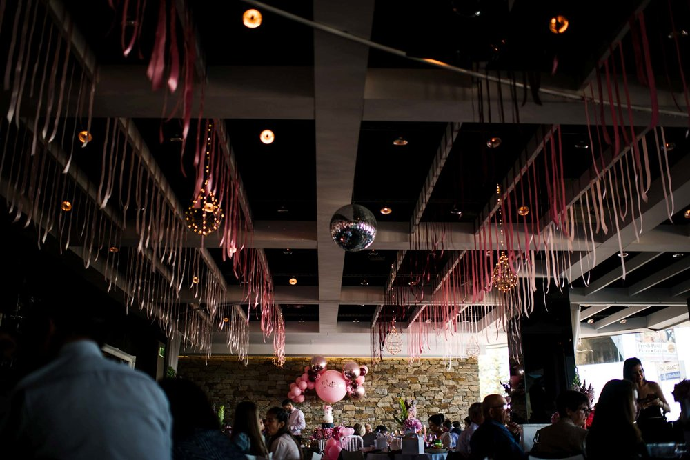 Pink christening decorations at Bianco Restaurant