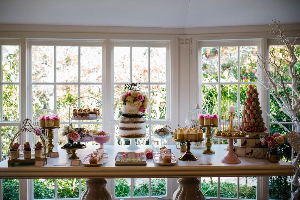Rustic country cake table at Oatlands House christening reception