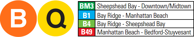 Q or B train to Sheepshead Bay and a short walk.  BM3, B4, B1, OR , B49 Bus to West End Avenue.