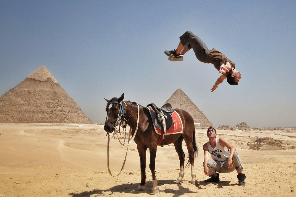 Backflip at the Great Pyramids in Cairo, Egypt.  More photos and stories from Egypt can be found here.
