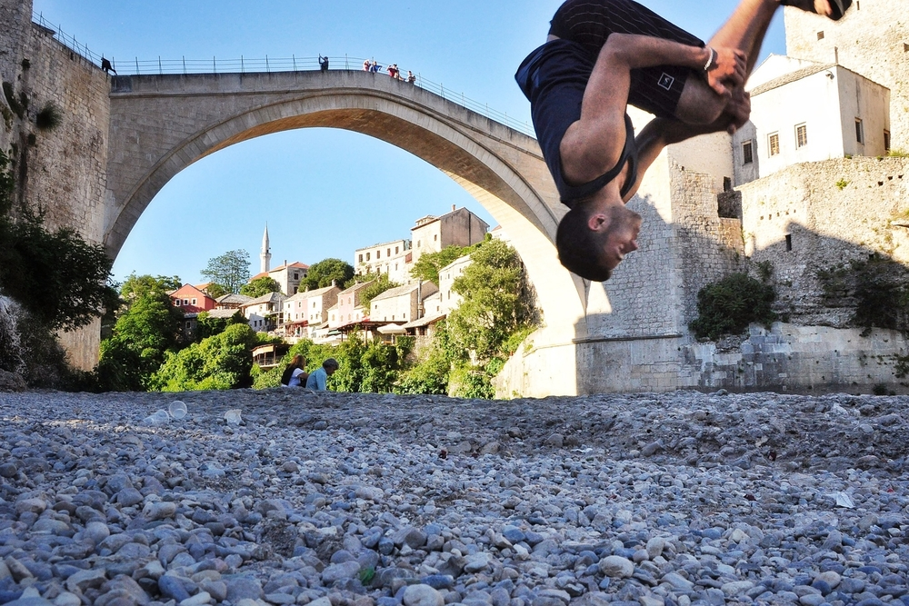 Backflip in front of the Stari Most in Mostar, Bosnia and Herzegovina. More photos from Bosnia and Herzegovina can be found here.