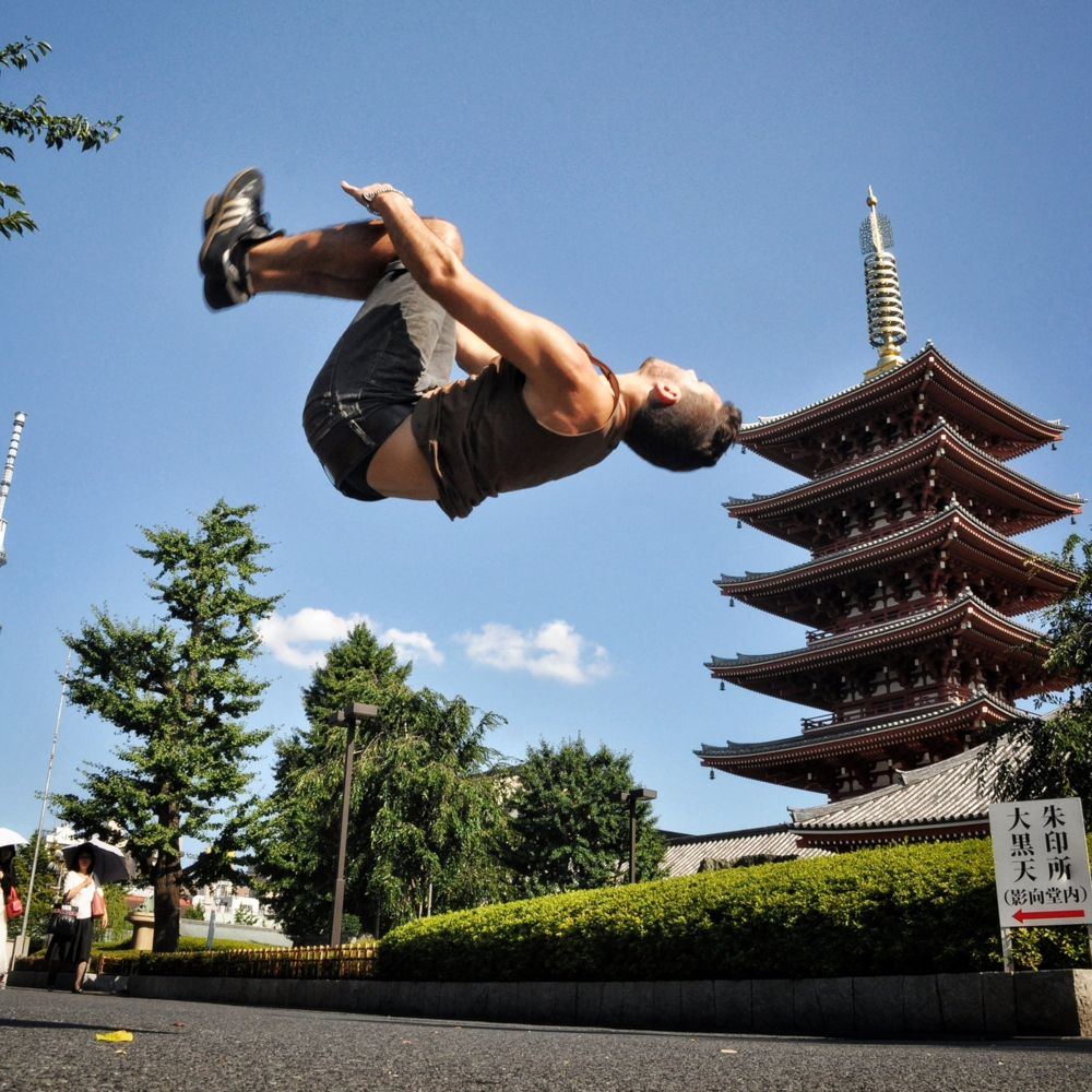 Backflip in Tokyo, Japan.  More photos and stories from Japan can be found here.