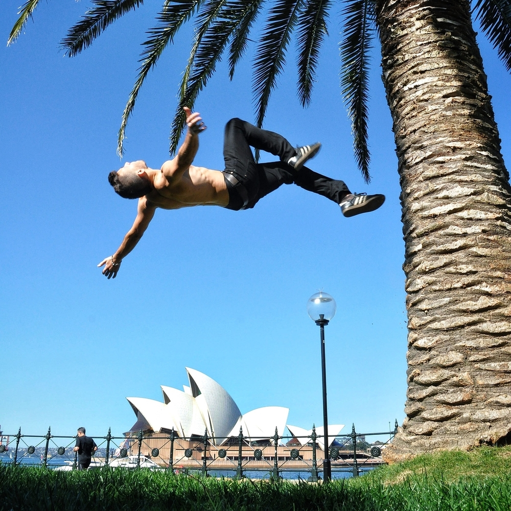 Backflip in front of the Opera House in Sydney, Australia.  More photos and stories from Australia can be found here.