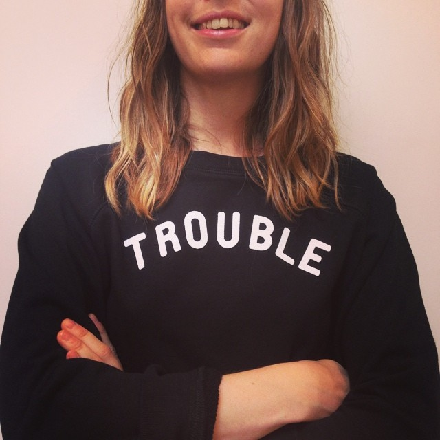 frenchgarmentcleaners :     Our newest employee @kmoreau27 rocking @seanewyork #trouble #shestrouble in-store now, online soon! (at French Garment Cleaners)