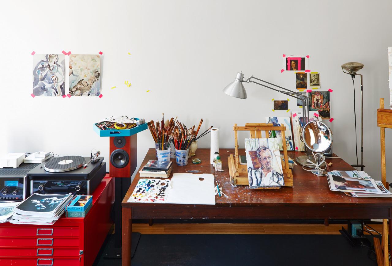love her. love her studio.    wmagazine :     Where   Elizabeth Peyton   works   Photograph by Jeremy Liebman; W magazine May 2014.