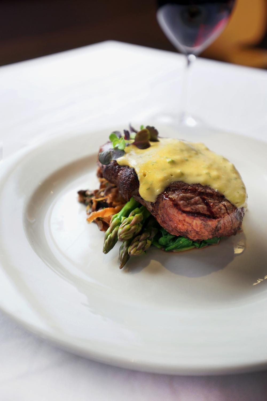 Steak on asparagus, Cascades Restaurant
