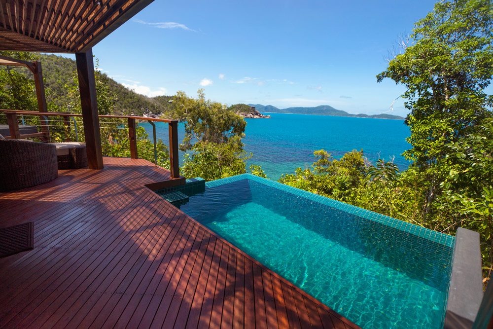Plunge pool looking over bay