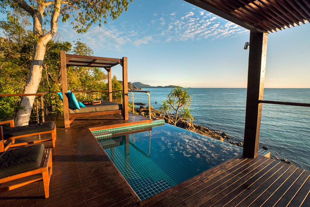 The Point Villa plunge pool at sunrise