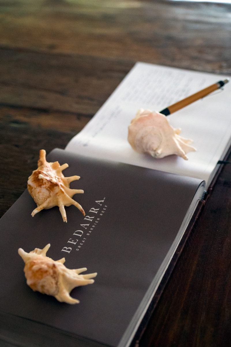 The Bedarra Island Resort guestbook with shells