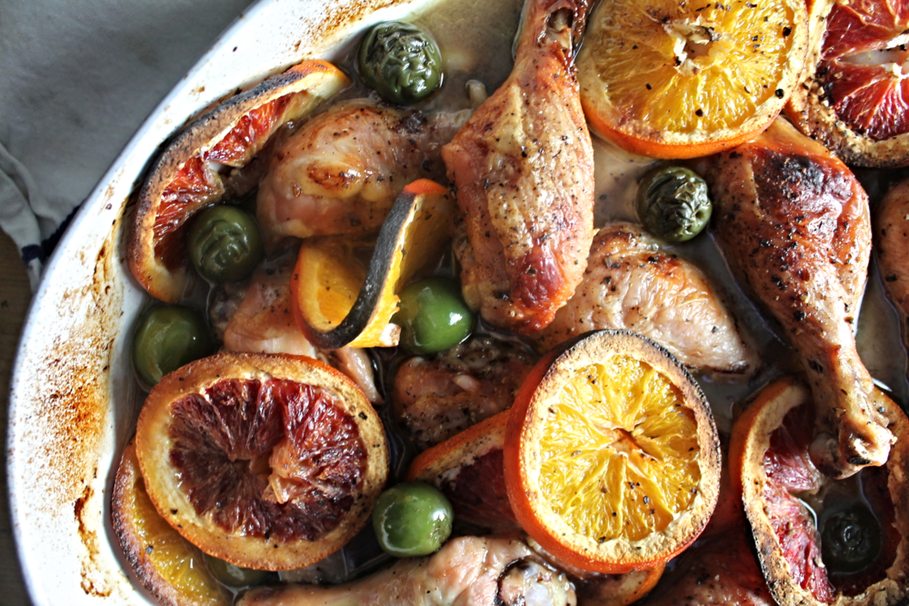 Roast Chicken with Oranges + Olives | www.hungryinlove.com
