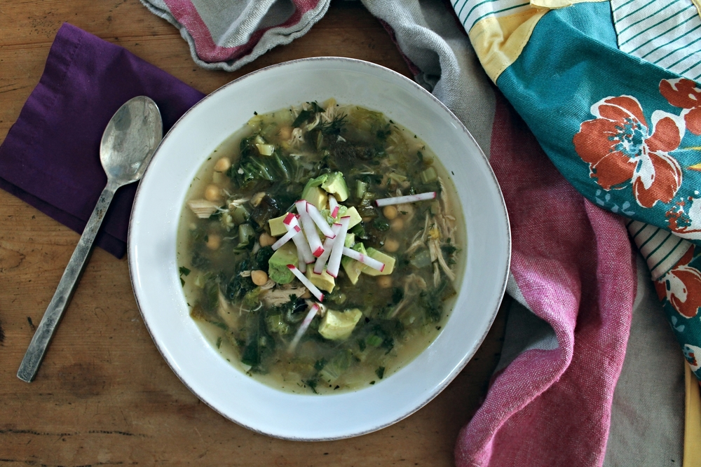 Poblano Soup with Shredded Chicken + Lime | www.hungryinlove.com