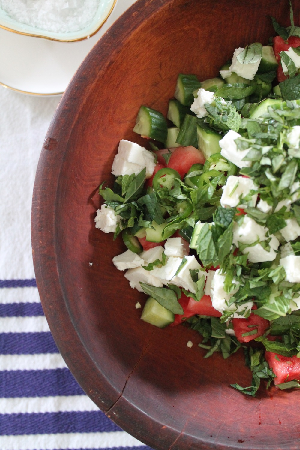 Watermelon, Cucumber, + Feta Salad | www.hungryinlove.com