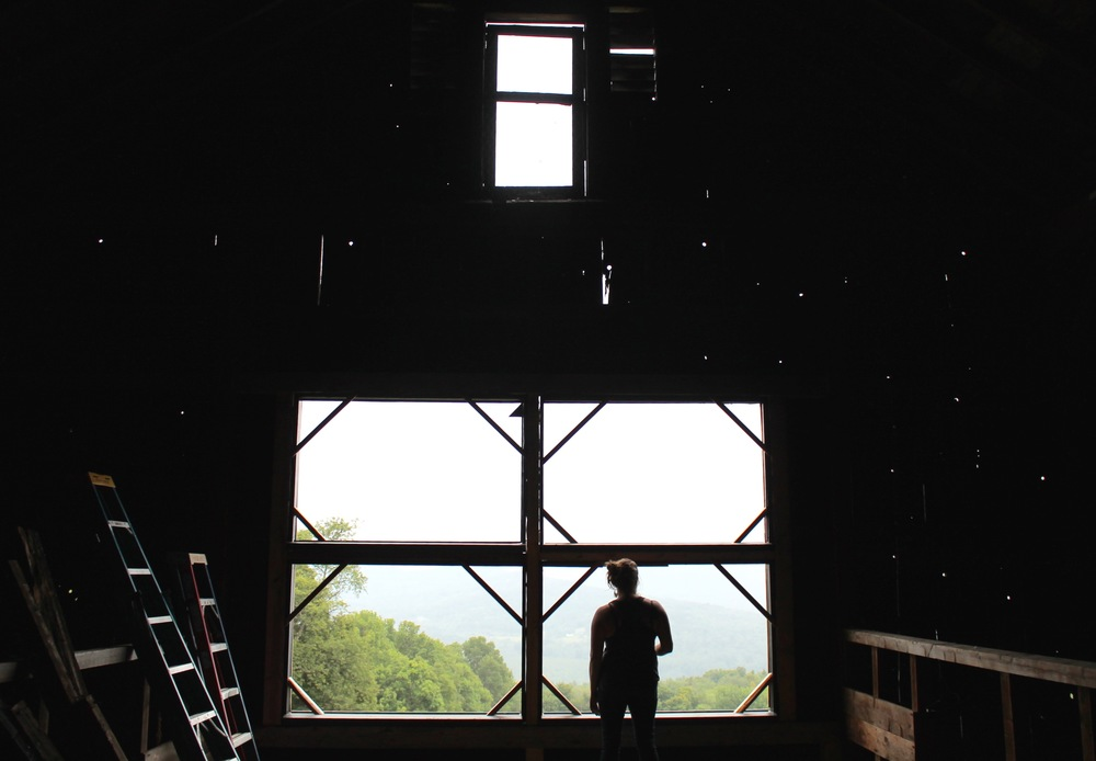 From her barn, Marisa looks out over Vermont's Mad River Valley.