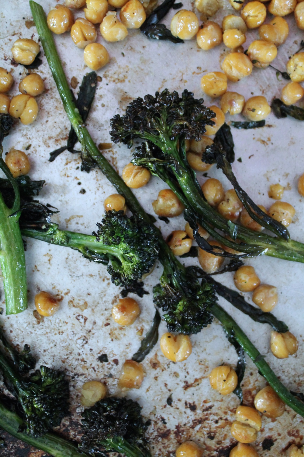Roasted Broccoli + Chickpeas | www.hungryinlove.com