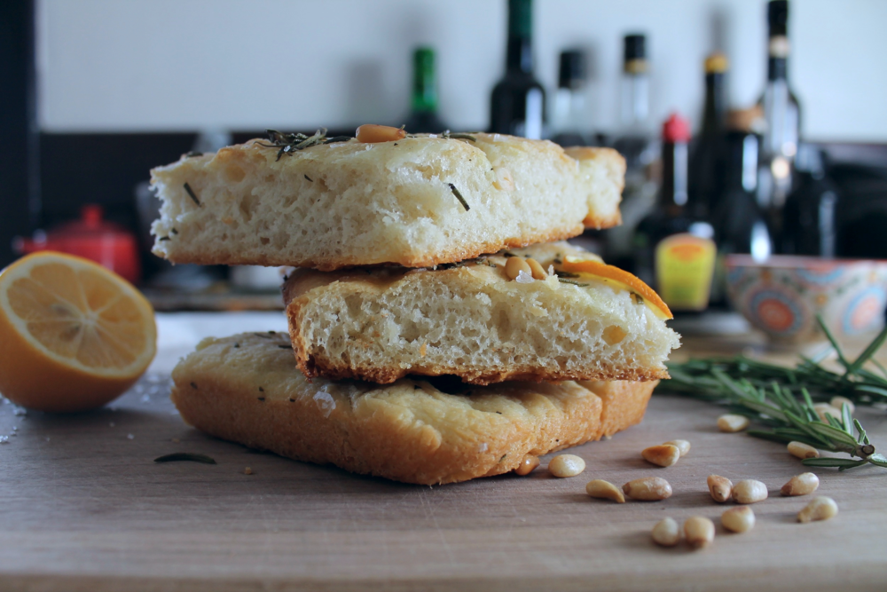 Meyer Lemon, Pine Nut + Rosemary Focaccia | www.hungryinlove.com