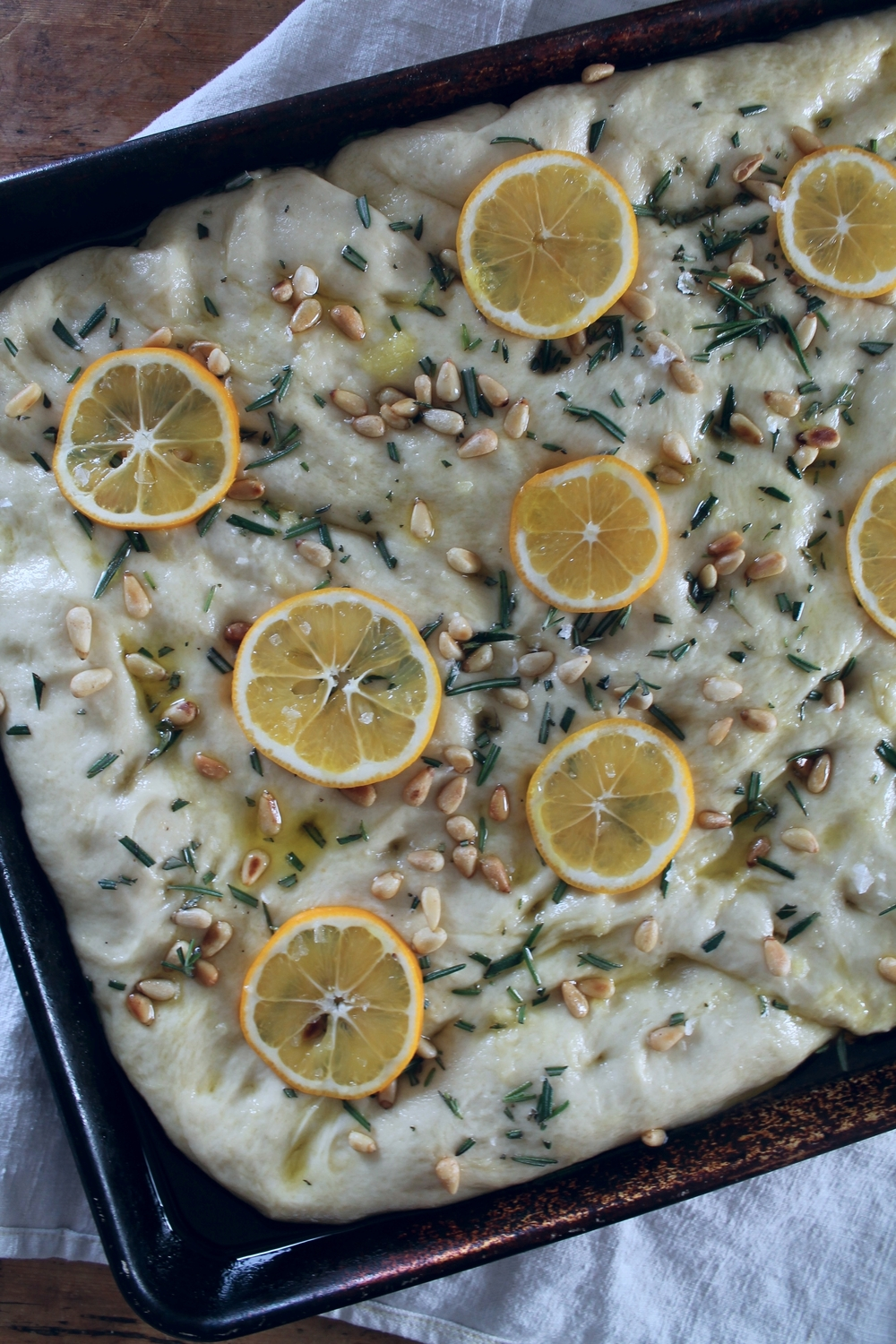 Mayer Lemon, Pine Nut + Rosemary Focaccia | www.hungryinlove.com
