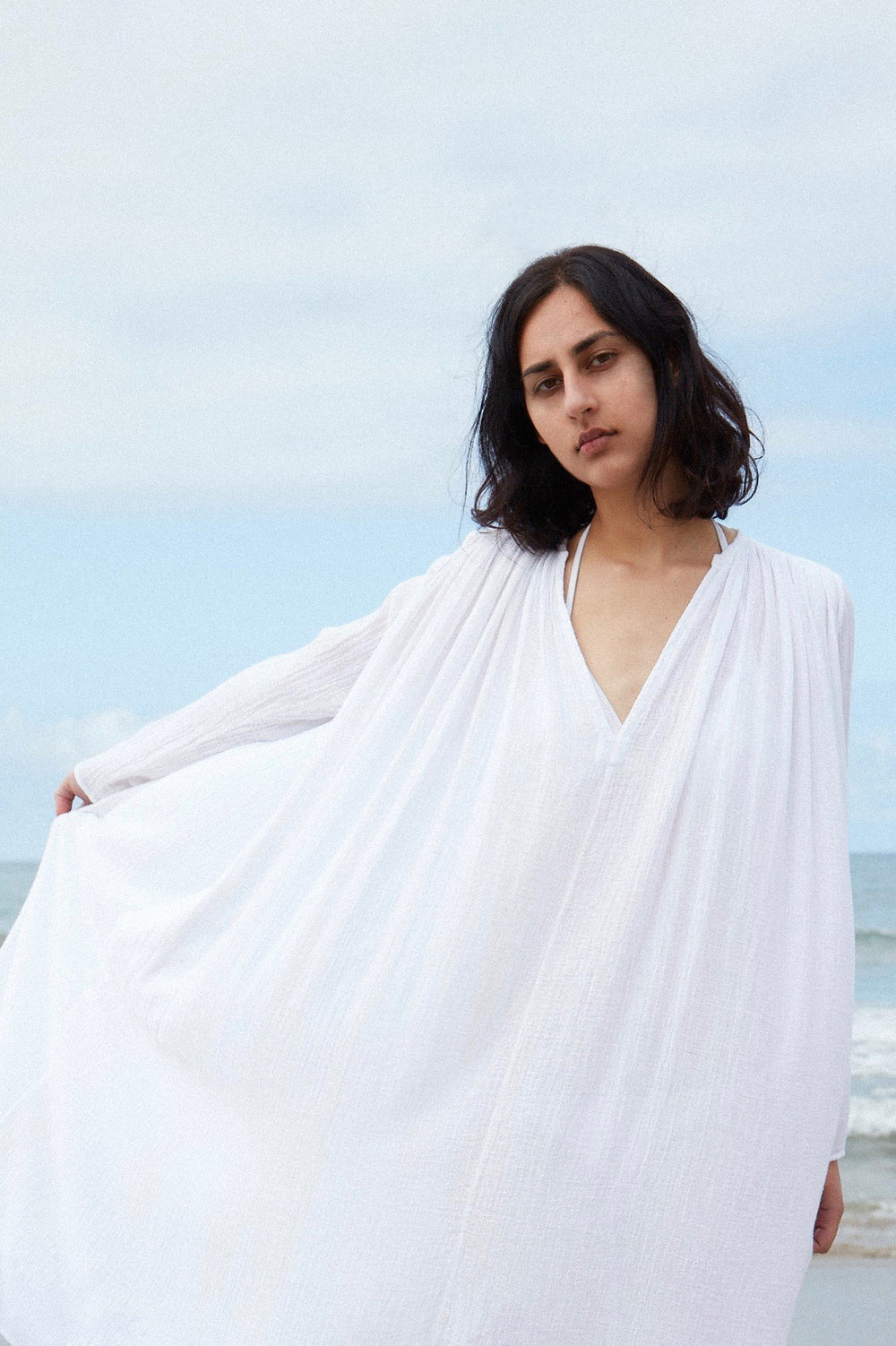 Perwana wears the  Tangier  dress in white gauze