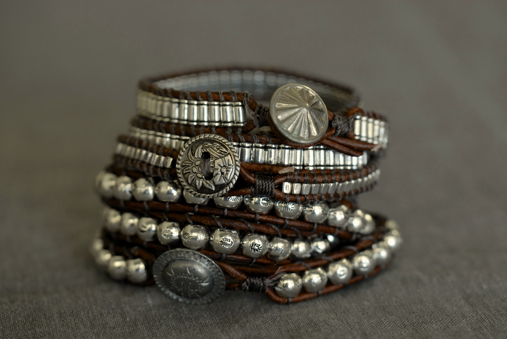 Leather & Pewter Triple Wrap