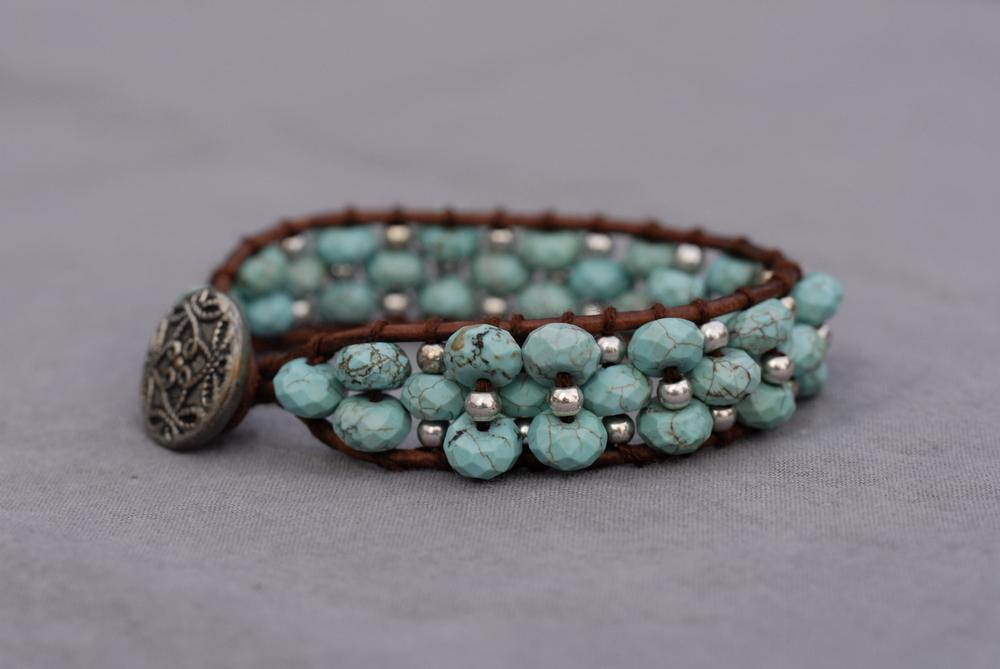 Leather Edged Stone Bracelets