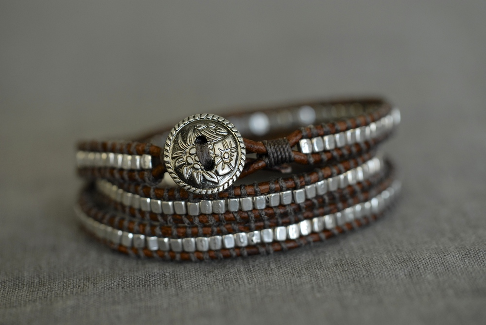 Triple wrap bracelet with medium brown leather and small pewter bead, unique button