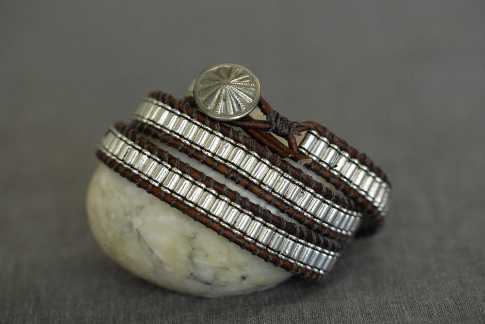Triple wrap bracelet with medium brown leather and medium pewter bead, unique button