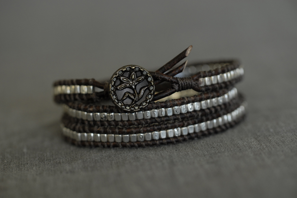 Triple wrap bracelet with dark brown leather and small pewter bead, unique button