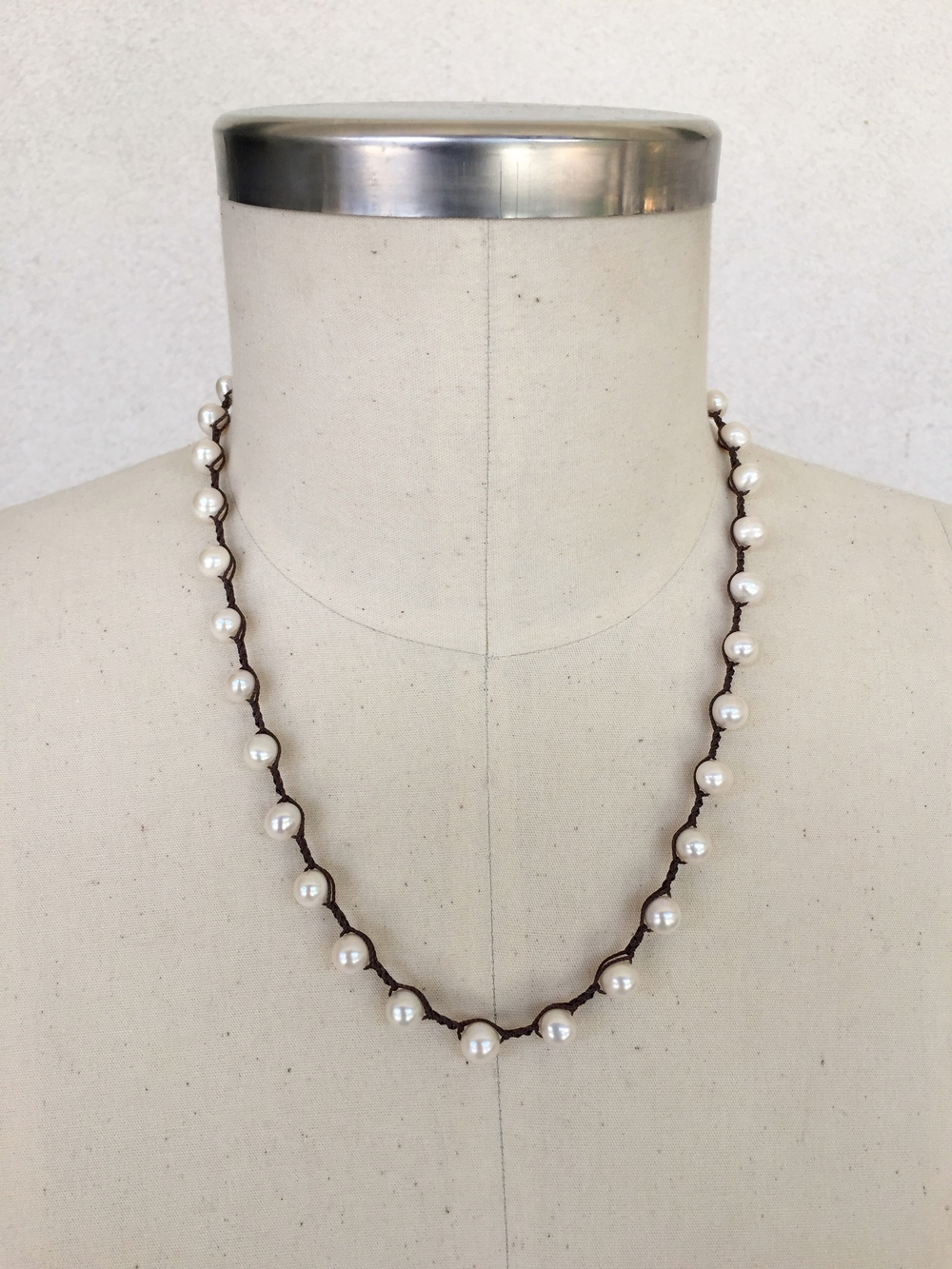 "6mm Potato Pearl on Chocolate - shown here in 21"" length"