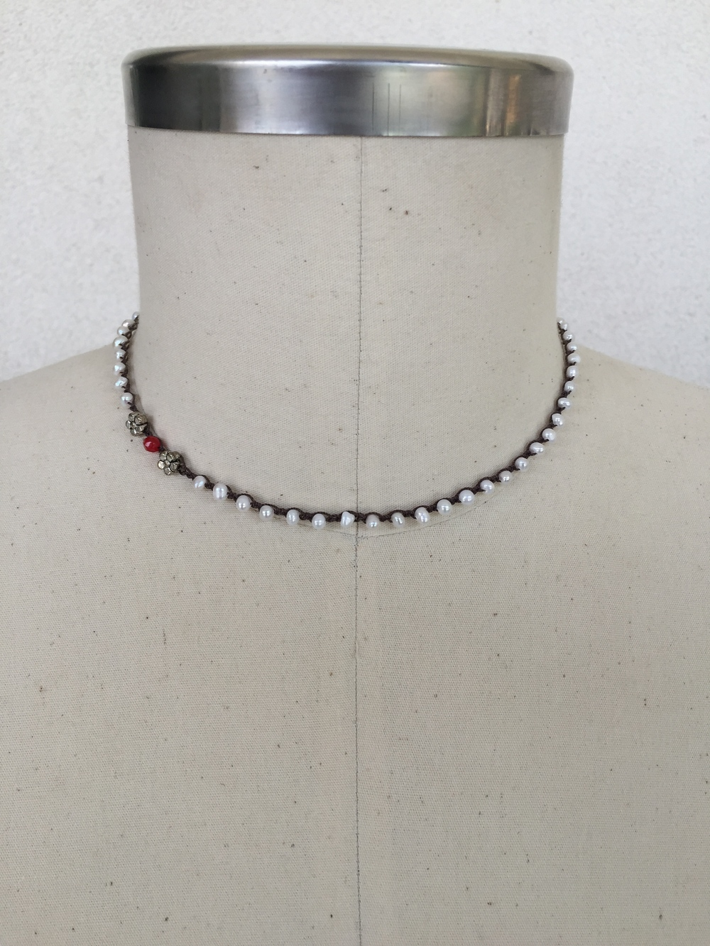 "Seed Pearl with Garnet and Silver Details - shown here in 17"" length"