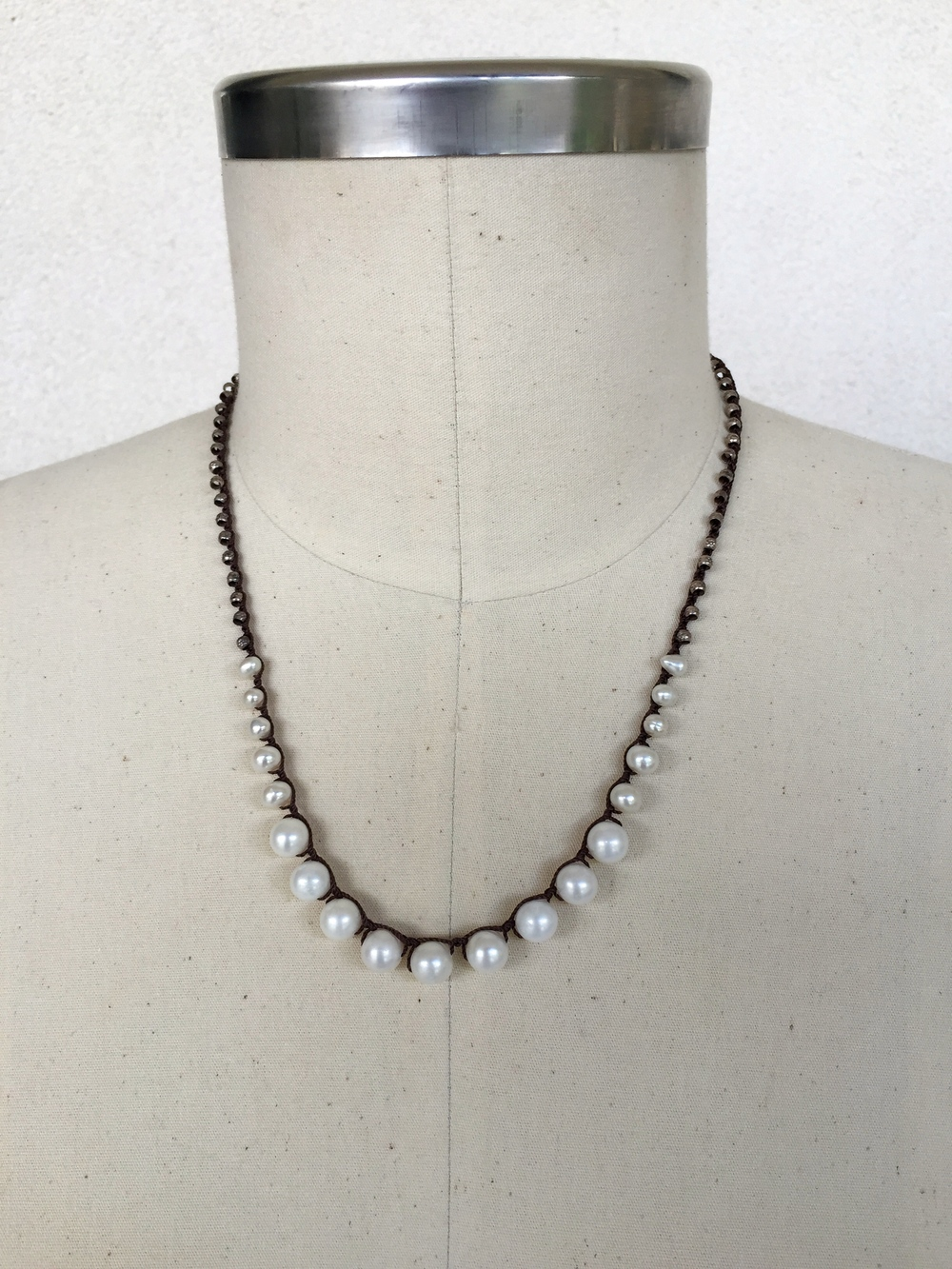 Graduated Sterling Silver and White Pearl Choker