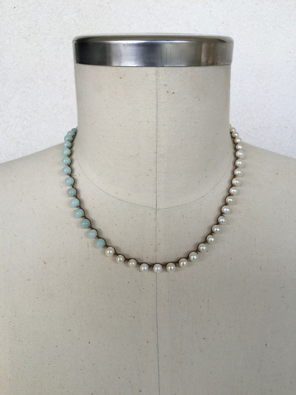 "Amazonite & Pearl Single-spaced Choker - shown here in 19"" length"