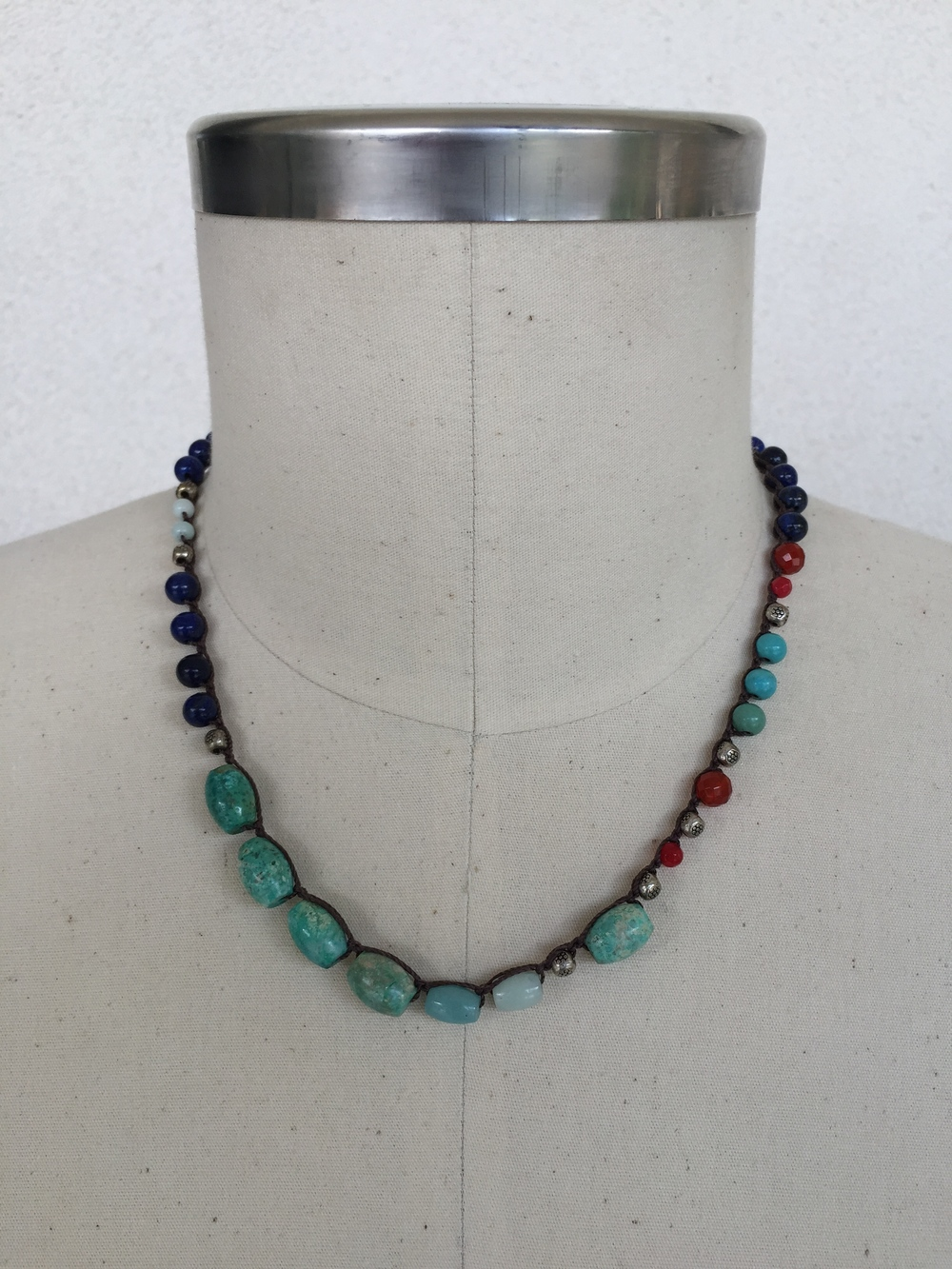 "Mixed Gemstone and Turquoise Choker - shown here in 21"" length"