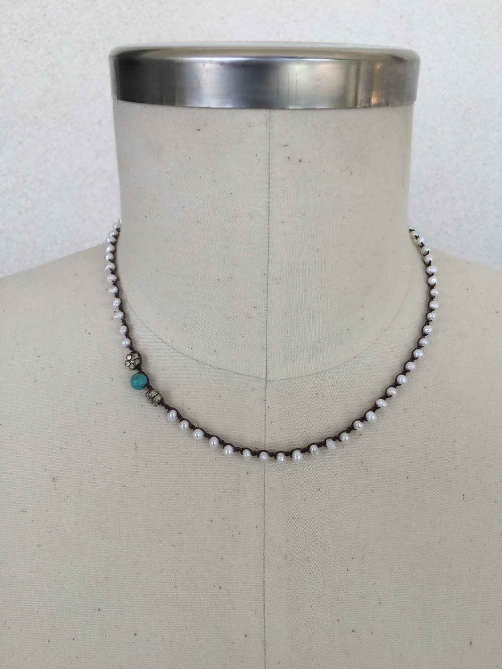 "Seed Pearl with Turquoise and Silver Details - shown here in 19"" length"