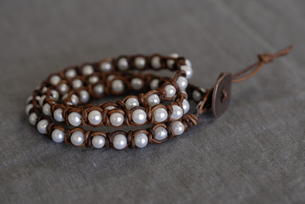 Knotted Pearl Triple Wrap Bracelet - Light Brown